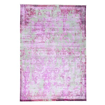 Broken Hand-Knotted Silk Pink Area Rug