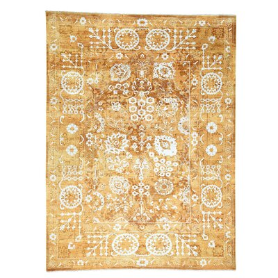 One-of-a-Kind Samons Tone on Tone Hand-Knotted Silk Area Rug