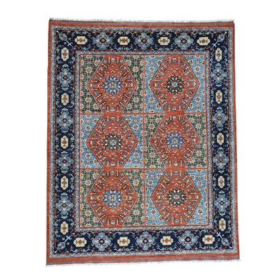 Afghan Ersari Oriental Hand-Knotted Blue/Orange Area Rug