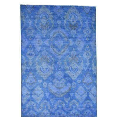 Cast Ikat Overdyed Oriental Hand-Knotted Blue Area Rug