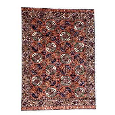 Ersari Turkoman Elephant Hand-Knotted Red Area Rug