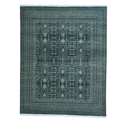 Samarkand Pomegranate Oriental Hand-Knotted Green Area Rug
