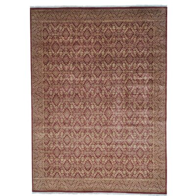 Tone on Tone Geometric Oriental Hand-Knotted Red Area Rug