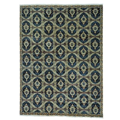 Ikat Oriental Hand-Knotted Beige Area Rug