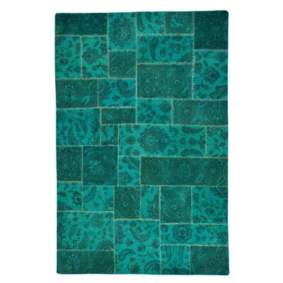 Overdyed Patchwork Hand-Knotted Teal Area Rug
