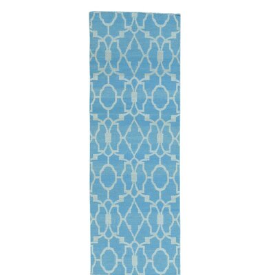 Flat Weave Reversible Kilim Hand-Knotted Blue Area Rug