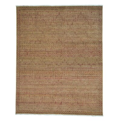 Tone on Tone Mughal Motifs Oriental Hand-Knotted Yellow Area Rug