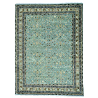 Khotan Oriental Hand-Knotted Teal Area Rug