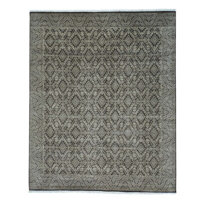 Tone on Tone Geometric Oriental Hand-Knotted Brown Area Rug