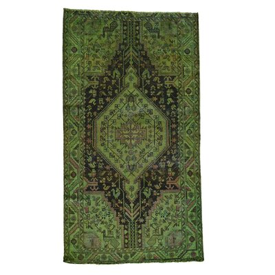 Worn Nahavand Overdyed Hand-Knotted Green Area Rug