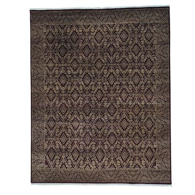 Geometric Tone on Tone Oriental Hand-Knotted Red Area Rug
