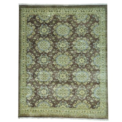 Rosette Chocolate Brown Hand-Knotted Brown Area Rug