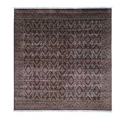 Geometric Tone on Tone Hand-Knotted Red Area Rug
