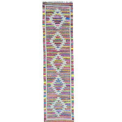 Flat Weave Kilim Geometric Hand-Knotted Cotton White/Pink Area Rug Rug Size: Runner 27 x 10
