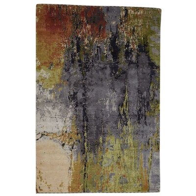 Abstract Hand-Knotted Silk Gray/Light Green Area Rug