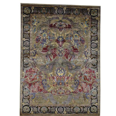 Crafts Oidized Hand-Knotted Silk Beige Area Rug