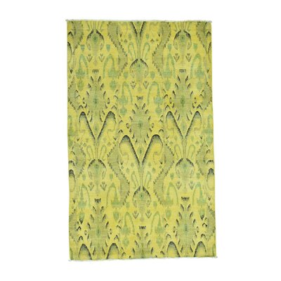 Cast Ikat Overdyed Oriental Hand-Knotted Wool Yellow Area Rug