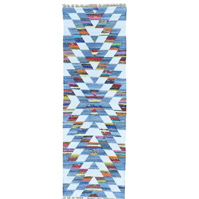 Geometric Flat Weave Kilim Oriental Hand-Knotted Cotton White/Light Blue Area Rug