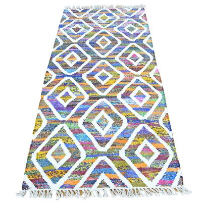 Flat Weave Kilim Oriental Hand-Knotted Cotton White/Purple Area Rug