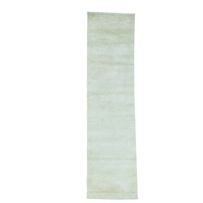 Tone on Tone Nepali Hand-Knotted Silk Beige Area Rug