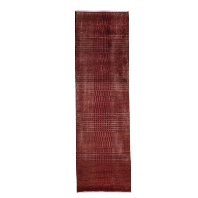Tone on Tone Nepali Hand-Knotted Silk Red Area Rug