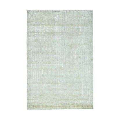 Tone on Tone Nepali Oriental Hand-Knotted Silk Beige Area Rug