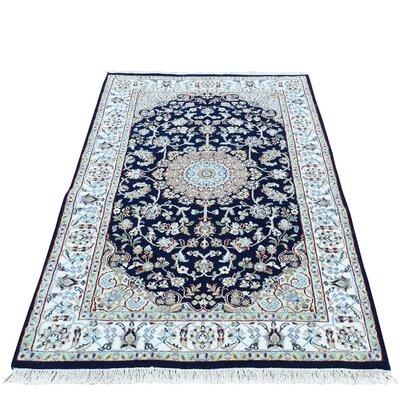 Nain 300 KPSI Hand-Knotted Silk Blue Area Rug