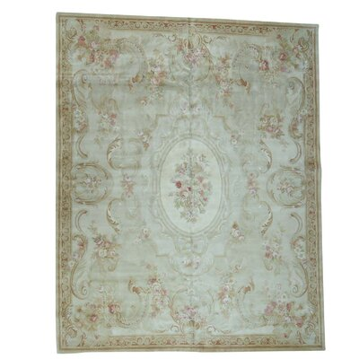 Charles European Savonnerie and Plush Hand-Knotted Ivory Area Rug