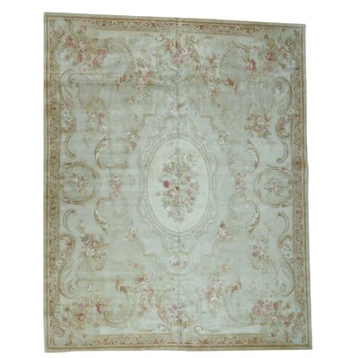 Charles and Plush European Savonnerie Hand-Knotted Ivory Area Rug