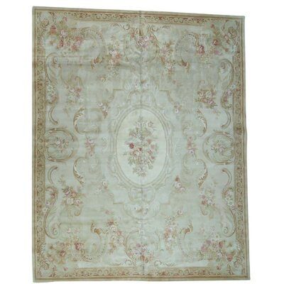 European and Plush Savonnerie Charles Hand-Knotted Ivory Area Rug