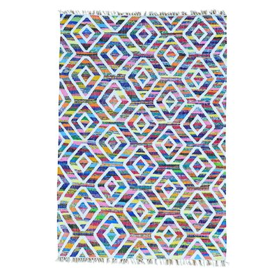 Kilim Oriental Hand-Knotted White/Blue Area Rug