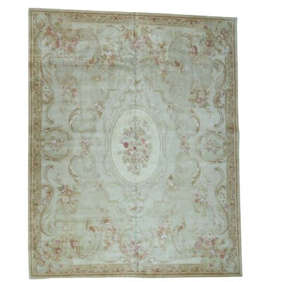 European Savonnerie Charles and Plush Hand-Knotted Ivory Area Rug