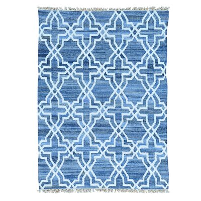 Kilim Oriental Hand-Knotted Blue Area Rug