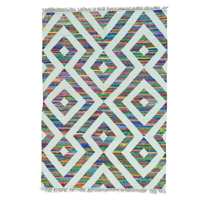 Flat Weave Kilim Geometric Hand-Knotted Off White/Blue Area Rug Rug Size: Rectangle 5 x 72