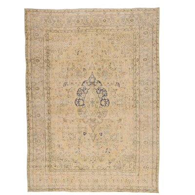 One-of-a-Kind Lear Worn Vintage Hand-Knotted Area Rug