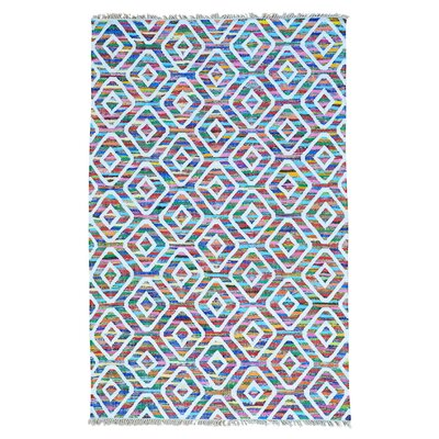 Flat Weave Kilim Hand-Knotted White/Purple Area Rug