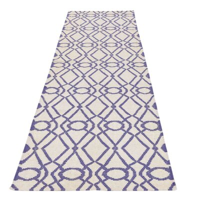 Flat Weave Reversible Durie Kilim Hand-Knotted Wool Ivory Area Rug