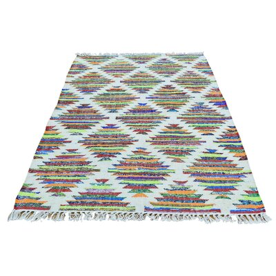Recycled Clothes Kilim Oriental Hand-Knotted Silk White/Pink Area Rug