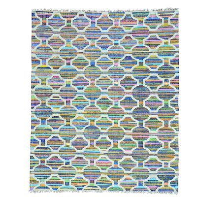 Recycled Clothes Kilim Oriental Hand-Knotted Silk White/Blue Area Rug