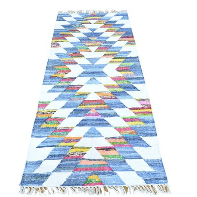 Flat Weave Kilim Oriental Hand-Knotted White/Light Blue Area Rug