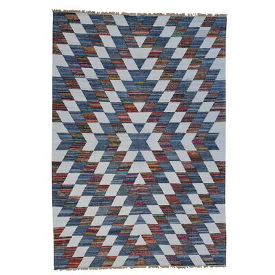 Recycled Clothes Kilim Oriental Hand-Knotted Silk Dark Gray/White Area Rug