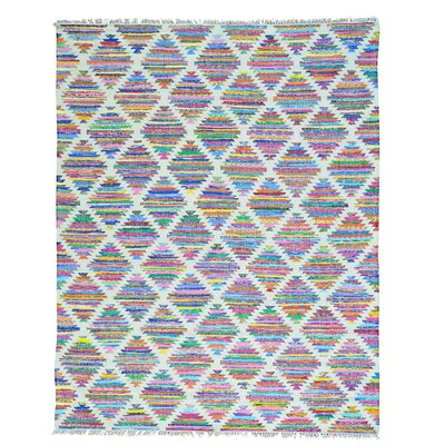 Flat Weave Kilim Hand-Knotted White/Pink Area Rug