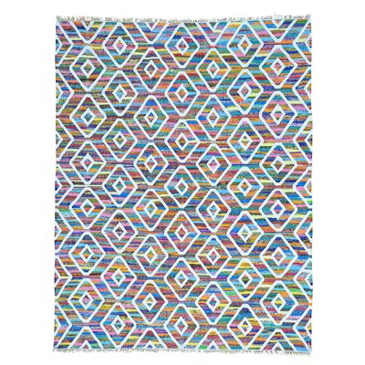 Flat Weave Kilim Oriental Hand-Knotted White/Blue Area Rug