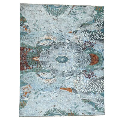 One-of-a-Kind Eastvale Peshawar Botanical Motif Hand-Knotted Silk Area Rug