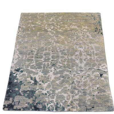 Sample Strike Off Abstract Hand-Knotted Silk Blue/Gray Area Rug