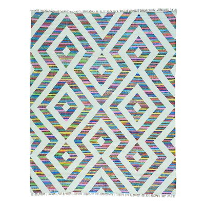 Flat Weave Kilim Geometric Hand-Knotted Off White/Blue Area Rug Rug Size: Rectangle 8 x 10