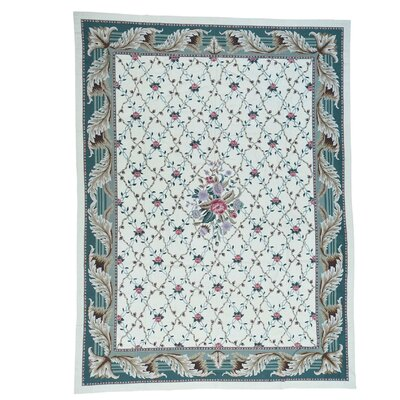 Needlepoint Botanical Hand-Knotted Ivory Area Rug