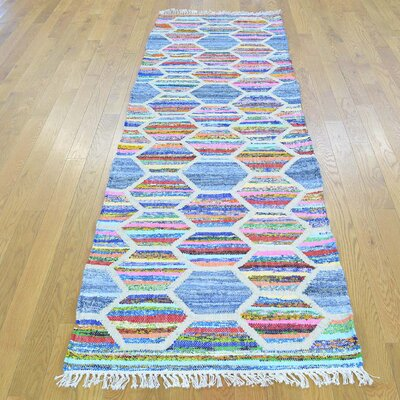 Flat Weave Kilim Oriental Hand-Knotted Cotton White/Light Blue Area Rug