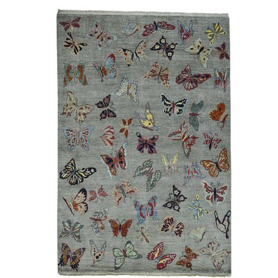 Butterflies Oriental Hand-Knotted Gray Area Rug