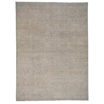 Dense Weave William Morris Oriental Hand-Knotted Silk Gray Area Rug